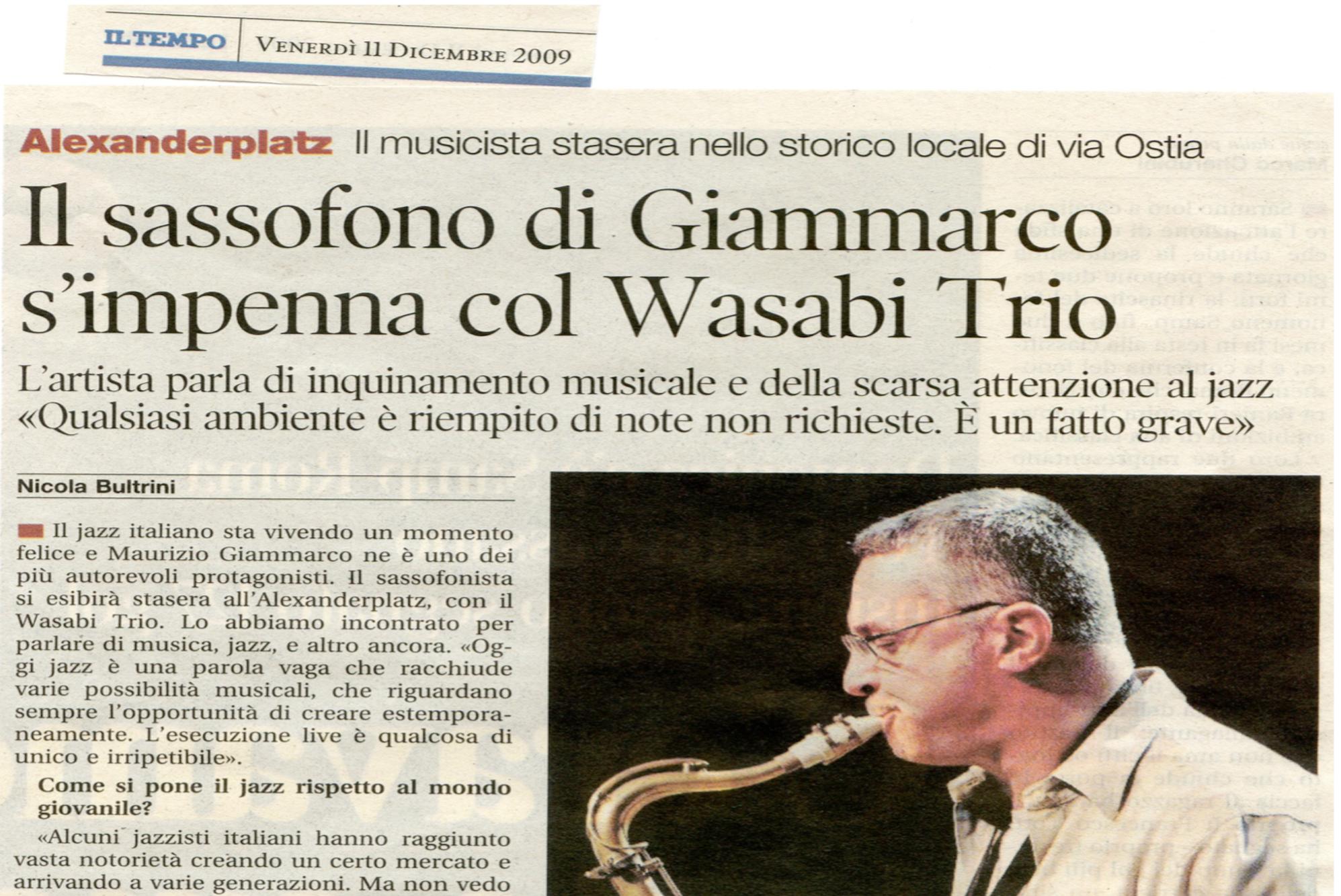 Il sassofono di Giammarco s'impenna col Wasabi Trio – Il Tempo