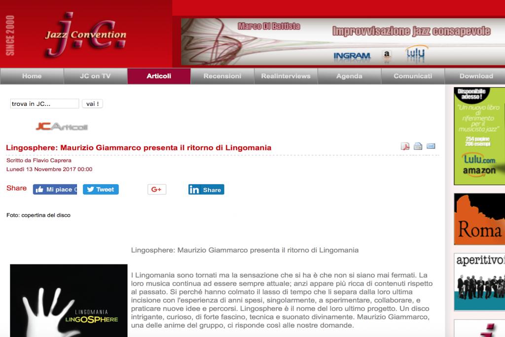 Lingosphere: Maurizio Giammarco presenta il ritorno di Lingomania – Jazz Convention