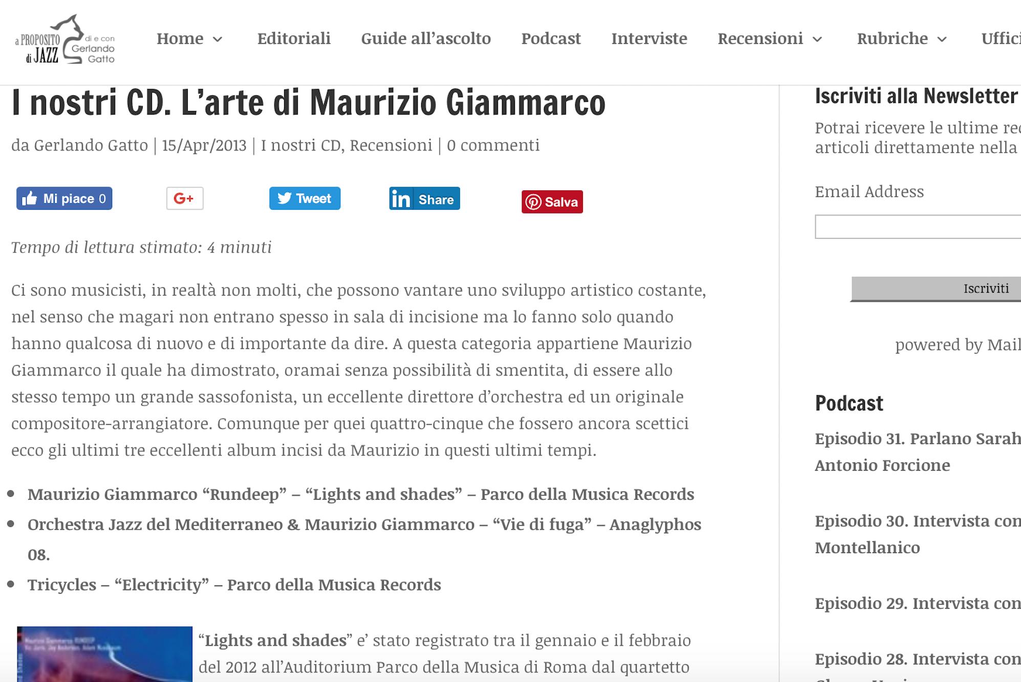 I nostri Cd. L'arte di Maurizio Giammarco – A proposito di Jazz